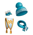 Hat scarf boots warm winter clothes in blue vector image