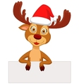 Cute deer cartoon with blank sign vector image vector image