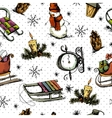 Hand-drawn Christmas Seamless Background vector image