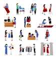 Woman Shopping Icons vector image