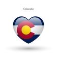 Love Colorado state symbol Heart flag icon vector image