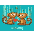 New Year card with Monkeys for year 2016 vector image