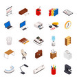 big set of 3d isometric volumetric of icons on a vector image