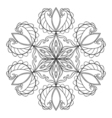 Black snow flake in zentangle doodle style mandala vector image