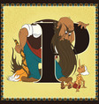 children book cartoon fairytale alphabet letter p vector image
