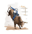 cowboy bull riding vector image