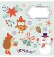 Cute Christmas decorative elements and icons vector image