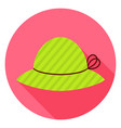 Flat Fashion Hat Circle Icon with Long Shadow vector image