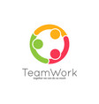 teamwork logo team union on white background vector image