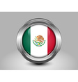 Flag of Mexico Metal and Glass Round Icon vector image