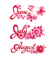 set name of the month summer vector image