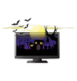 Computer screen with halloween theme vector image