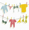 Clothes on washing line vector image