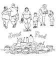 Junk food and obese people vector image