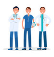 men team of three therapists standing and smiling vector image