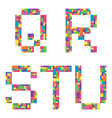 q r s t u alphabet letters from children vector image