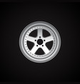 realistic alloy wheel on black vector image