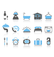 simple color hotel icons vector image
