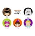 Set of halloween avatars for girls vector image