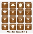 Wooden Application Icons Set vector image