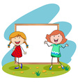 Girls standing in front of white board vector image