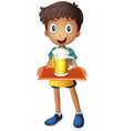 A young boy holding a tray with a mug of beer vector image