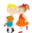 Girl giving a shameful boy a kiss on the cheek vector image