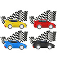 Racing cars in four colors vector image