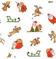 seamless pattern from cartoon santa claus reindeer vector image
