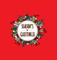 Seasons Greetings Christmas Doodle Red vector image