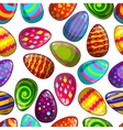 Seamless pattern with cartoon easter eggs vector image