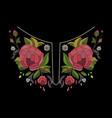 embroidery neckline design for fashion vector image