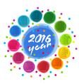calendar template with colorful circles for 2016 vector image vector image