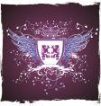 grunge retro violet shield vector image