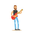young man playing electric guitar vector image