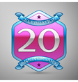Twenty years anniversary celebration silver logo vector image