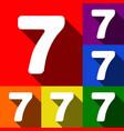 number 7 sign design template element  set vector image