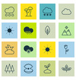 set of 16 nature icons includes love flower vector image