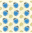 seamless pattern flower and beetle vector image