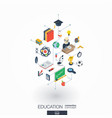 Education integrated 3d web icons digital network vector image