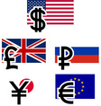 currency symbols and flags vector image
