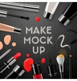 Makeup mockup with collection cosmetics and vector image