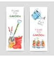 Gardening Watercolor Banners Set vector image