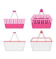 Empty shopping baskets set vector image