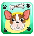 Cute dogwith paws designon background vector image