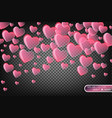 Festive of falling red hearts vector image