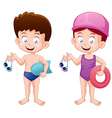 Kids swiming vector image