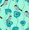 Seamless pattern of flowers and birds vector image