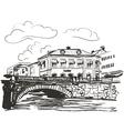 Town riverside sketch vector image