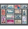 Travel vacation postage stamp with architecture vector image